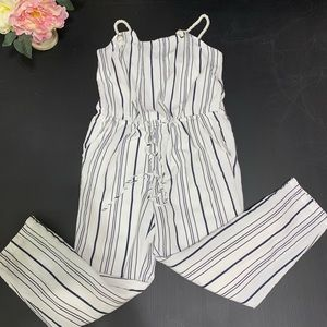 Lush Striped Jumpsuit Pockets Rope Straps